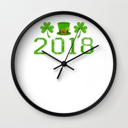 2018 Shamrocks And Leprechaun Hat St. Patrick's Day Wall Clock