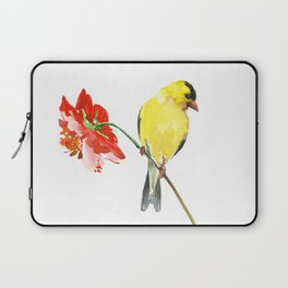 American Goldfinch and Red Flower, Minimalist Yellow Red Floral art Laptop Sleeve