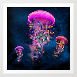 Floating Electric Jellyfish Worlds Art Print