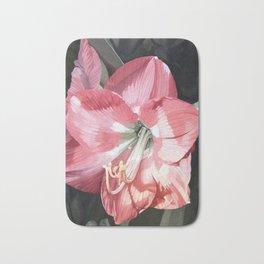 Pink Amaryllis Watercolor Botanical Garden Flower Painting Nature Art Bath Mat