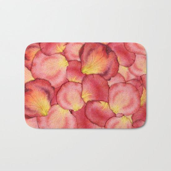 Pink Rose Petal Pattern Bath Mat