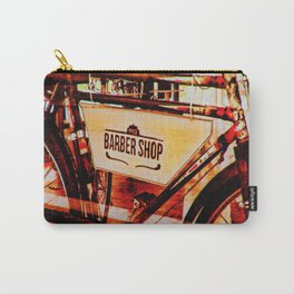 Barber shop vintage photograph of an antique bicycle Carry-All Pouch