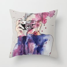 Selfie by carographic Throw Pillow