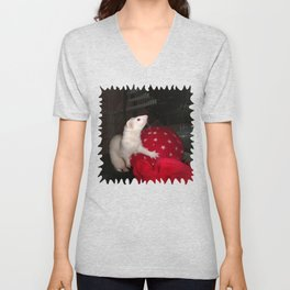 The Ivory Ferret and the Starry Red Bouncy House Unisex V-Neck