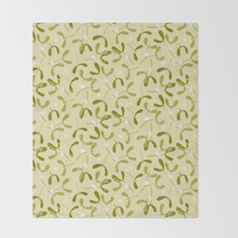 Rustic Mistletoe - Cream Throw Blanket