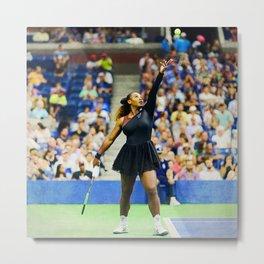 Serena Williams Serving Metal Print