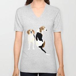 Gracie and Greta tree walker coonhounds Unisex V-Neck