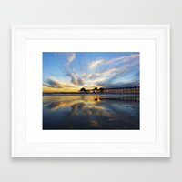 calendars Framed Art Prints featuring Sunset ~ Huntington Beach Pier CA  11/7/13 by John Minar Fine Art Photography