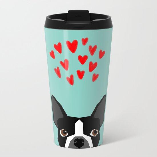 Boston Terrier - Hearts, Cute Funny Dog Cute Valentines Dog, Pet, Cute, Animal, Dog Love,  Metal Travel Mug