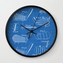Golf Clubs Patent - Golfing Art - Blueprint Wall Clock