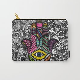Colorful Hand Drawn Hamsa Hand an Floral Drawings Carry-All Pouch