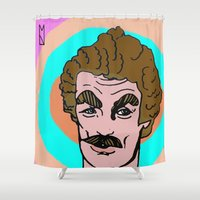tom hiddleston Shower Curtains featuring Tom Selleck by Mary Naylor