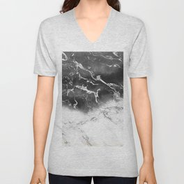 Modern black and white marble ombre watercolor color block Unisex V-Neck