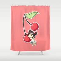 cherry Shower Curtains featuring Cherry by Freeminds