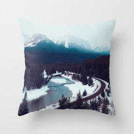 Canadian Rocky Mountains, Banff, Lake Louise, Winter Landscape Throw Pillow