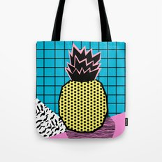 Grindage - pineapple fruit tropical pattern memphis style art print bright neon 1980 1980's 80's 80s Tote Bag