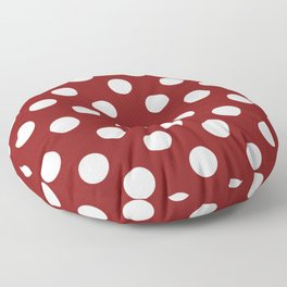 OU Crimson red - red - White Polka Dots - Pois Pattern Floor Pillow
