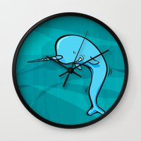 narwhal Wall Clocks featuring Narwhal by Janusz Kali Kaliszczak
