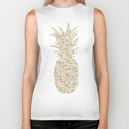 Pineapple Floral Watercolor Biker Tank