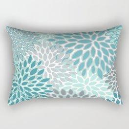 Festive, Modern, Floral Prints, Teal and Gray Rectangular Pillow