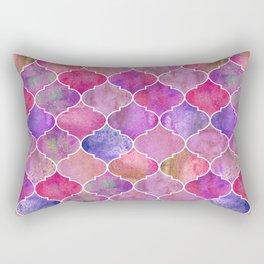 Moroccan watercolor fuchsia tiles Rectangular Pillow