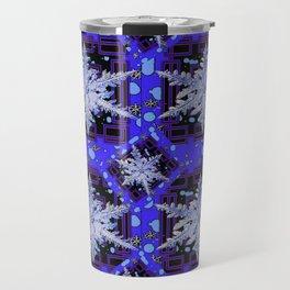 BLUE WINTER HOLIDAY SNOWFLAKES PATTERN ART Travel Mug