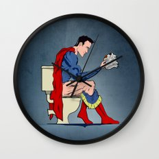 Superhero On Toilet Wall Clock