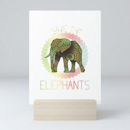 Save the Elephants animal right activist T-Shirt Mini Art Print