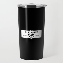 Alicante Valencian Community with World Map GPS Coordinates Travel Mug