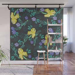 Yellow iris and periwinkle watercolour & ink pattern in black Wall Mural