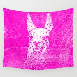 Funny Neon Pink Llama Animal Art Drawing Wall Tapestry