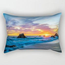 Sunset over Waves Rectangular Pillow