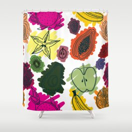 Colorful Fruit Cross Sections Surface Pattern Design Shower Curtain