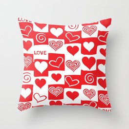Love Pattern Text & Hearts Throw Pillow