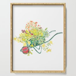 flowers in green handcart watercolor  Serving Tray
