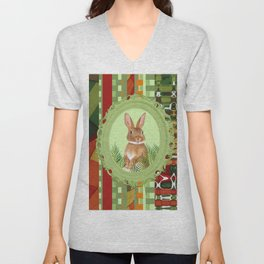 Bunny in green frame with geometric background stripes Unisex V-Neck