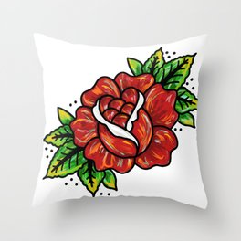 Traditional Rose Throw Pillow