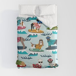 Surfing Dogs - cute summer tropical dogs surfing Comforters