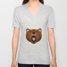 Geometric Bear - Abstract, Animal Design Unisex V-Neck