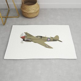 WW2 P-40 Warhawk Airplane Rug