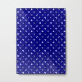 White on Navy Blue Snowflakes Metal Print