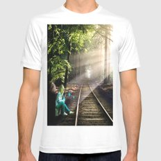 Dream Line MEDIUM White Mens Fitted Tee