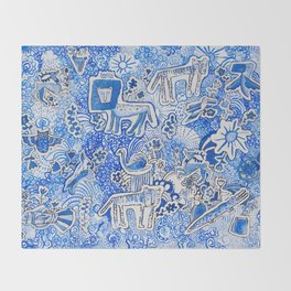 Delft Blue and White Pattern Painting with Lions and Tigers and Birds Throw Blanket