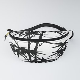 Bamboo Silhouette Black And White Fanny Pack