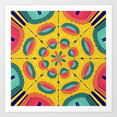 Textured tropical mandala Art Print
