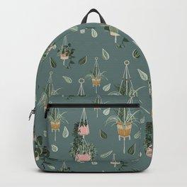 Modern Boho Macrame Plant Hangers Pattern Teal Backpack