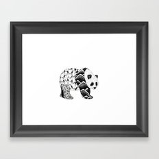Bamboo Panda Bear Mountains and leaves dot-work, pointillism Framed Art Print