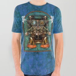 Cacotopia Steampunk Kitty - blue All Over Graphic Tee