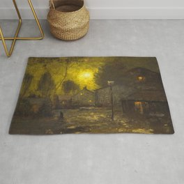 By the Light of a Yellow Moon, Cityscape by George Inness Rug