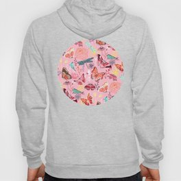Dragonflies, Butterflies and Moths With Plants on Millennial Pink Hoody